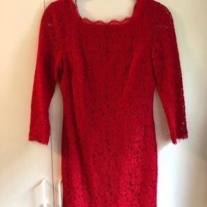 Red Lace Cocktail Dress size 4 (Adrianna Papell)